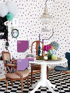 Polka dots wall and check out the black and white checkered floor