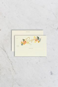 Rifle Paper Co - Recipe Cards - Set of 12 - Peony