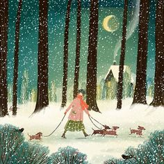 Dachshund walking at night : Dachshund walking at nightYou can find Dachshund and more on our website.Dachshund walking at night : Dachshund walking at night Art And Illustration, Illustrations, Christmas Illustration, Dachshund Art, Daschund, Photo Images, Guache, Winter Art, Winter Night