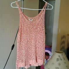 Tank top Peach crochet  tank top ..like new.. Worn 3-4 times Mossimo Supply Co Tops Tank Tops