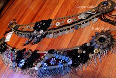 Benne Gezeritt's Tribal Sundries, the Ruby Red Tribal Fusion Bellydance Belt Vintage