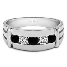 14k White Gold Channel Set Men's Ring With Bars With Black And White Diamonds(0.5 Cts., black, I1-I2) (14k White Gold, Size 4.5) (solid)