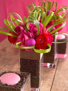 Cute centerpieces with coffee beans. Great idea for a brunch, and Pink and Brown is such a great color combo!