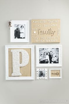 """Love one another. Family is a gift!"" This collection of frames in neutral tones incorporates our wood letters in their natural state."