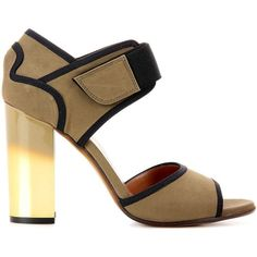 Marni Leather Sandals (1.965 BRL) ❤ liked on Polyvore featuring shoes, sandals, real leather shoes, green shoes, marni shoes, black and gold shoes and black and gold sandals