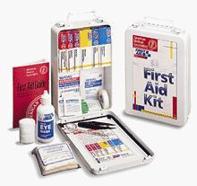 """Vehicle kit- 93 piece bulk kit- metal case w/ gasket- 1 ea. - This 93-piece vehicle kit is designed for fleet and commercial vehicles. Its hard metal with gasket holds quality brand products that are easily accessible in an emergency. This kit meets federal OSHA recommendations and offers easy refilling with the help of a full-color reordering schematic. Refills are color-coded for ease of identification.Kit Includes: (1 ) A-100: 3/4""""x3"""" Adhesive plastic bandages, 25/bx (1 ) A-102: 5…"""
