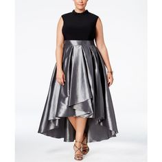 Sl Fashions Plus Size Satin High-Low Gown ($119) ❤ liked on Polyvore featuring plus size women's fashion, plus size clothing, plus size dresses, plus size gowns, plus size evening dresses, plus size high low dresses, plus size turtleneck, plus size mock turtleneck and high low gown