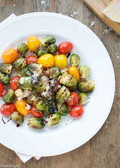 Tender roasted brussels sprouts, lightly sautéed in shallot-garlic infused olive oil, mixed with cherry tomatoes and glazed with balsamic.