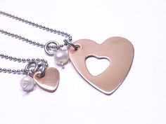 Mother and Daughter Copper Heart Necklace Set- Mother and Daughter Matching Heart Necklaces, Gifts for Christmas by MissAshleyJewelry, $30.00