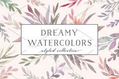 Watercolor flora. Dreamy collection by Bang Bang Bureau on @creativemarket