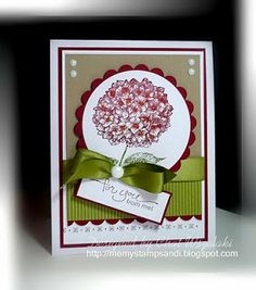 RECIPE: Stamps:  Because I Care, A Word For You Paper:  Old Olive, Cherry Cobbler, Crumb Cake Ink:  Old Olive, Cherry Cobbler Accessories: satin ribbon, jumbo brad, small brads Tools:  Big Shot, Nestie, scallop edge punch