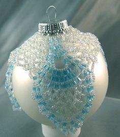 Beaded Ice Blue Christmas Ornament | LeSpirit - Seasonal on ArtFire