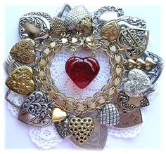 silver and gold heart charm bracelet The Vintage Heart