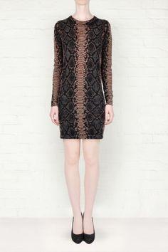 Markus Lupfer Snake Print Knitted Dress