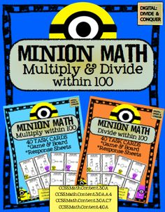 Minion Math: Multiply & Divide!  80 Task Cards and Games!  CCSS aligned ($5) Go Crazy!  Minions Everywhere!
