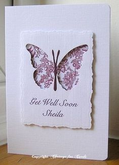 handmade get well card . panel with negative space butterfly die cut . two colors . Making Greeting Cards, Greeting Cards Handmade, Cute Cards, Diy Cards, Wedding Shower Cards, Memory Box Cards, Karten Diy, Butterfly Cards, Purple Butterfly