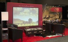 Build your presentation right into your display! With front or rear screen projection, DesignView gives you a big, branded graphic with a built-in screen area for seamless, impactful messaging. Trade Show Booth Design, Game Lodge, Fireside Chats, Turntable, Pop Up, Signage, Display, Lodges, Ohio