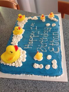 3d rubber duck cakemarshmallow bubbles1st birthday Cake ideas