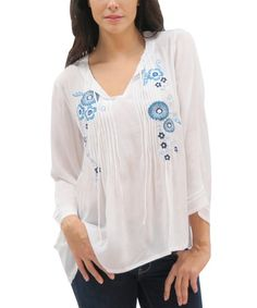 Another great find on #zulily! White & Turquoise Jolie Peasant Top - Women by Caite #zulilyfinds