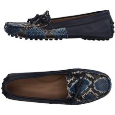 Andrea Morando Loafer ($165) ❤ liked on Polyvore featuring shoes, loafers, dark blue, dark blue shoes, animal print loafers, loafer shoes, leather flat shoes and python loafers