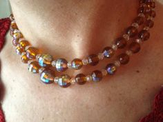 Vintage amber choker necklace with amber and clear aurora borealis plastic beads, shiny choker necklace, bright choker necklace by DuckCedar on Etsy