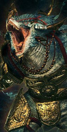 Kroq-Gar, the Last Defender of Xhotl Fantasy Races, Fantasy Armor, High Fantasy, Fantasy World, Warhammer Art, Warhammer Fantasy, Fantasy Monster, Monster Art, Fantasy Creatures