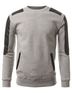 J.TOMSON Mens Slim Fit Long Sleeve Crewneck Pullover Hoodie With PU Detail at Amazon Men's Clothing store