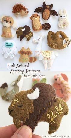 Find your Spirit Animal mini felt plush sewing pattern at www.littledear.etsy.com #feltanimals #sewingpattern #feltpattern