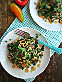 sweetsugarbean: Kickin' It: Kale Slaw with Peanut Dressing