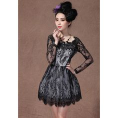 Black Boat Neck Long Sleeve Overlay Lace Flare Dress ($53) via Polyvore