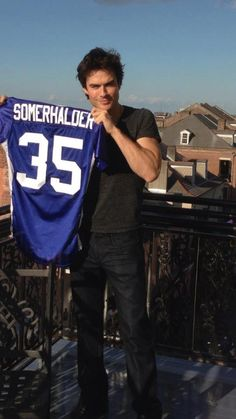 Ian Somerhalder loves football... @Megan Doan @Erin Doan @Shelly Smith-Cooper  LOOK AT THE NUMBER!!!