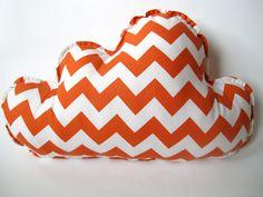 Cloud Pillow Nursery Decor Orange and White by bunbunbabydesigns