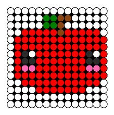 Cute Perler Bead Patterns | Kawaii Apple Perler Bead Pattern | Bead Sprites | Food Fuse Bead
