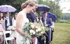 Father giving away bride, wedding ceremony | Vintage wedding photography | www.newvintagemedia.ca | Bala Wedding