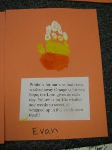 Biblical candy corn preschool craft