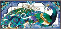 17.5 x 37.5 Peacock Mural Metal Framed Stained Glass Art Panel By ...