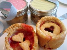 Pie in a jar is just that — a small single serving of fruit pie made and baked in a tiny mason jar. These pies are frugal to make, awesome to gift, tasty to serve, and fun to sell at bake sales. If you've got some kiddlets looking for a fun project, get them into the frugal fun too by teaching them to bake. Watching little ones eat tiny pies is kinda cute too. Greasing the jar with butter before lining it with dough helps to remove the pie (in one piece) after baking.