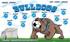 Bulldogs digitally printed vinyl Soccer sports team banner. Made in the USA and shipped fast by Banners USA. http://www.bannersusa.com/art/templates_2/digital/banners/VBS_BB_banners.php