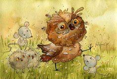 первые шаги (Виктория Кирдий) Bird Drawings, Animal Drawings, Drawing Animals, Cute Animal Illustration, Illustration Art, Animal Illustrations, Cute Birds, Owl Art, Illustrators