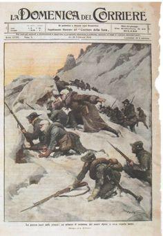 La guerra fuori dalle trincee: un attacco di sorpresa, dei nostri alpini, a circa tremila metri. World War One, Old World, Military Diorama, Geek Gear, Wwi, Art Day, Insta Art, Vintage Posters, Pop Art