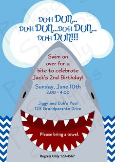 Shark  Invitation with Favor Tags to match. $15.00, via Etsy.