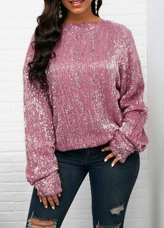47abce41fd2b5 Long Sleeve Sequin Embellished Dusty Pink Blouse