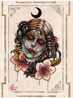 """Zombie Girl"" Print by Mindzai Creative #zombie #girl #art #print #decor #home #college #dorm"