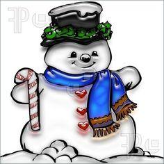 Cute Snowman Clip Art | Illustration of a cute little snowman with a candycane