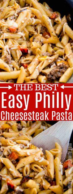 YUM! You will love this Philly Cheesesteak Pasta #pasta #groundbeef