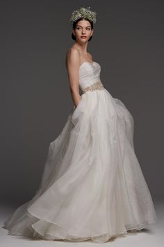 Watters - Wedding Dress - Canella Canella is an elegant A-line ball gown complete with a sweetheart neckline and full skirt composed of layers of Washed Silk Organza with hand-gathered pickups. Shown with Antoine Sash. Bridal Wedding Dresses, Bridal Style, Wedding Outfits, Bridal Collection, Dress Collection, Bridal Fashion Week, Glamour, Wedding Styles, Wedding Ideas