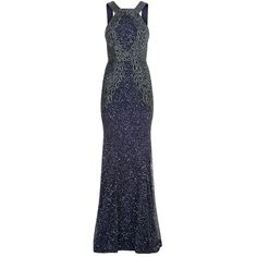 Rachel Gilbert Saskia Embellished Gown (7.790 BRL) ❤ liked on Polyvore featuring dresses, gowns, blue ball gown, blue sequin dress, beaded gown, blue sequin gown and evening dresses