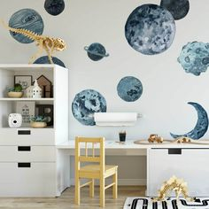 Blue Planets Wall Decals Blue Planets Wall Decals Project Nursery The post Blue Planets Wall Decals appeared first on Schreibtisch ideen. Polka Dot Wall Decals, Polka Dot Walls, Vinyl Wall Stickers, Home Interior, Interior Design, Roommate Decor, Blue Walls, New Wall, New Room