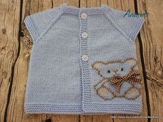 Knitted baby cardigan in blue with applique bear. Teddy от AnaSwet