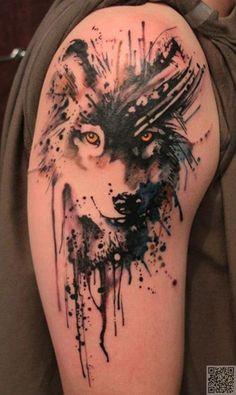 42. Wolf - 45 #tatouages aquarelles incroyables... → #Beauty